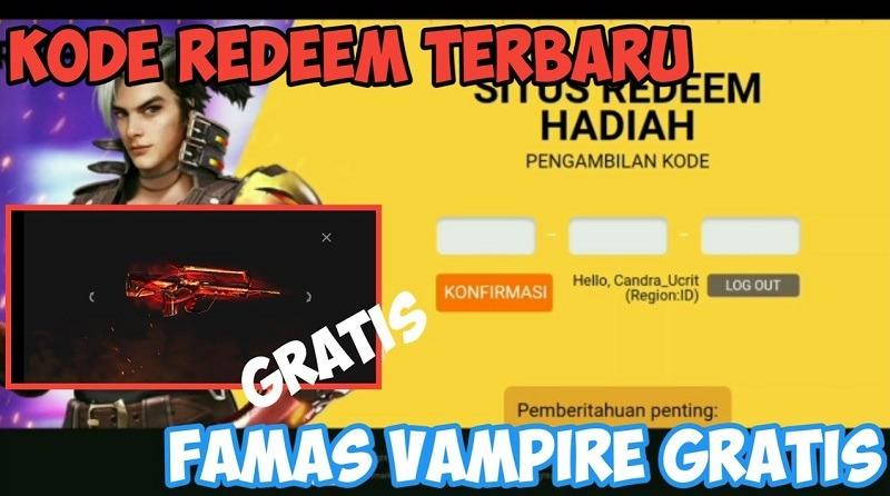 kode redeem famas vampire 2020 free fire indonesia terbaru