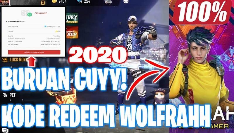 kode redeem ff wolfrahh terbaru 7 juli 2020 hari ini